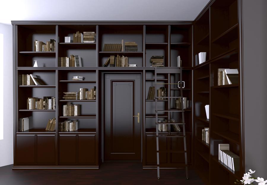 Темный книжный шкаф