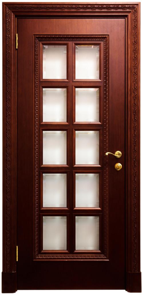 Деревянные элитные двери со стеклом
